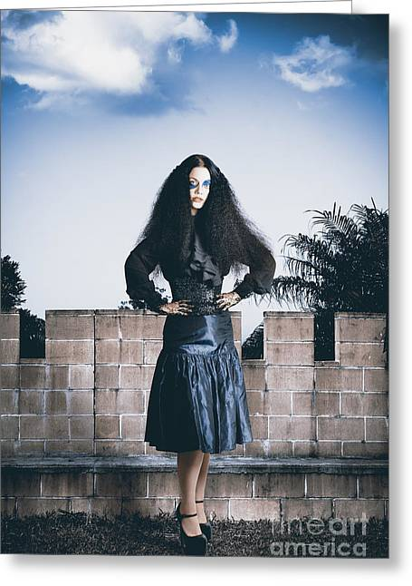 Attractive Woman In Jester Make-up In Courtyard Greeting Card by Jorgo Photography - Wall Art Gallery