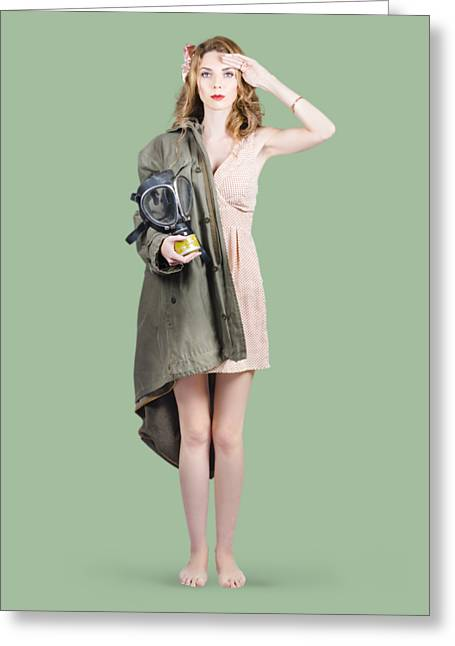 Attractive Young Australian Army Pinup Woman Greeting Card by Jorgo Photography - Wall Art Gallery