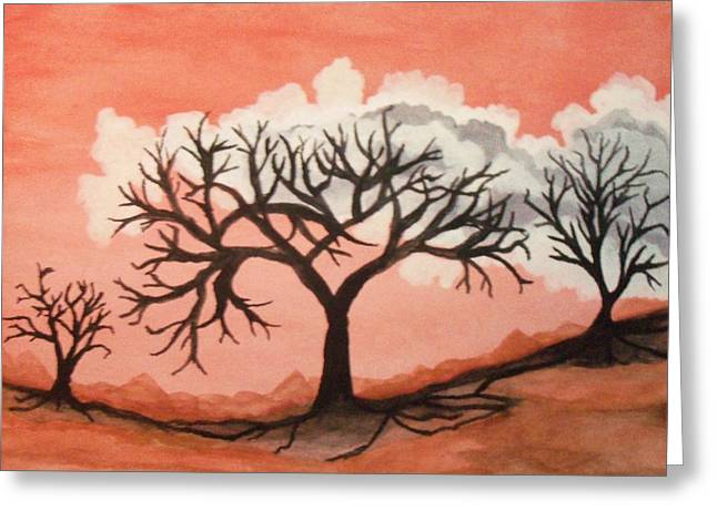 Atumn Trees Greeting Card by Connie Valasco
