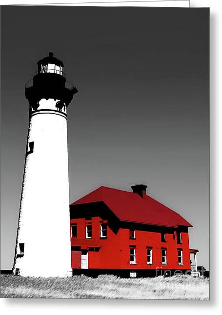Au Sable Point Light Sc Greeting Card by Tim Richards