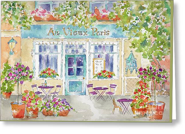 Greeting Card featuring the painting Au Vieux Paris by Pat Katz