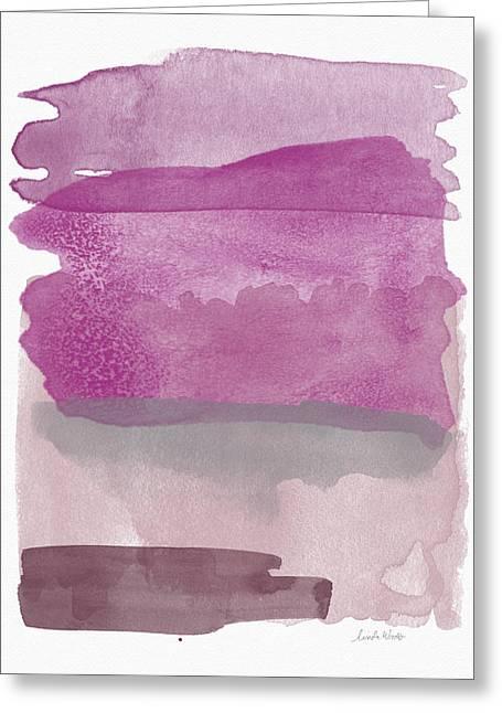 Aubergine Wash- Art By Linda Woods Greeting Card