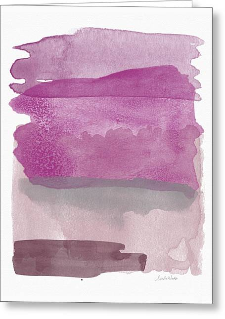 Aubergine Wash- Art By Linda Woods Greeting Card