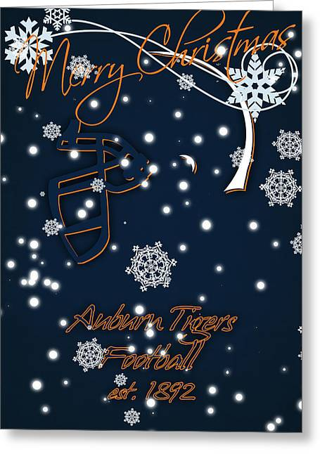 Auburn Tigers Christmas Card Greeting Card by Joe Hamilton
