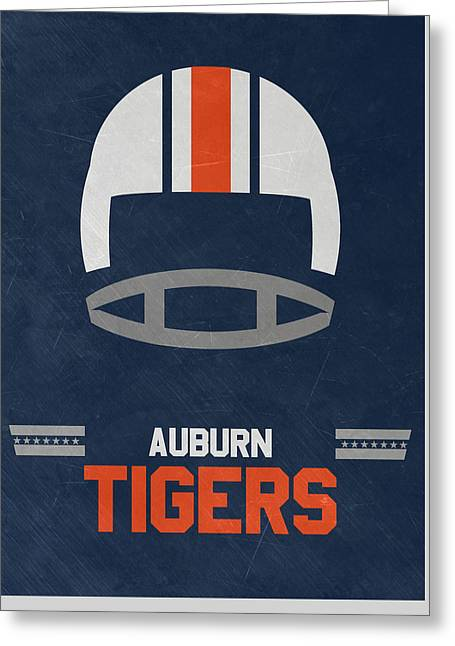 Auburn Tigers Vintage Football Art Greeting Card by Joe Hamilton