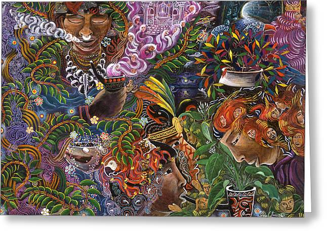 Ayahuasca Greeting Cards - Auca Yachai Greeting Card by Pablo Amaringo