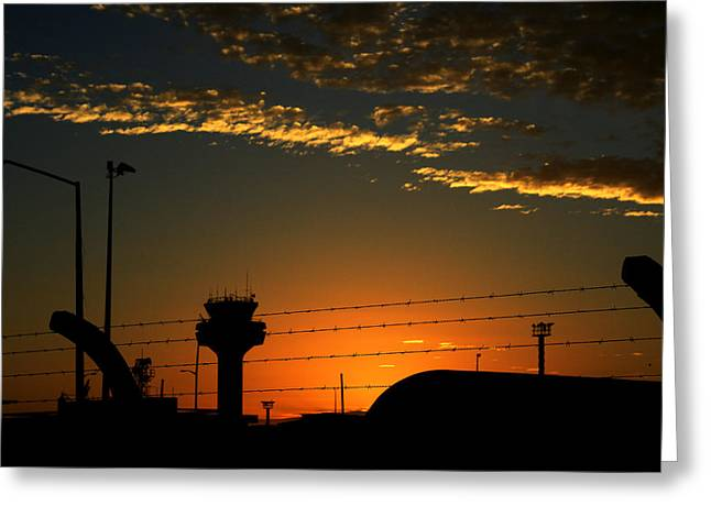 Auckland Airport Sunrise Greeting Card by Chris Hung