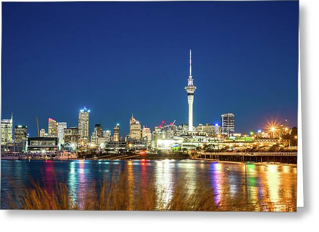 Auckland At Dusk Greeting Card