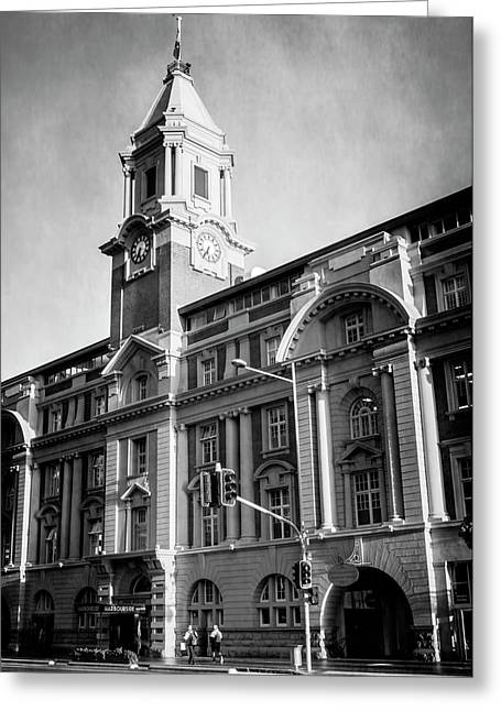Auckland New Zealand Ferry Building Bw Greeting Card by Joan Carroll