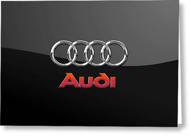 Audi 3 D Badge On Black Greeting Card by Serge Averbukh
