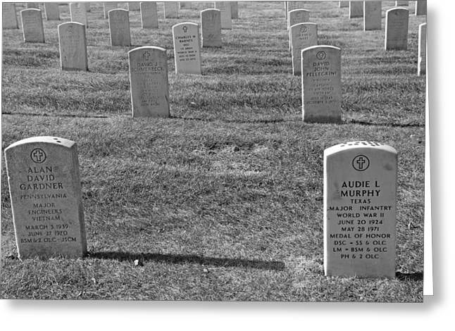Audie Murphy Is Not Alone In Arlington National Cemetery Greeting Card by Cora Wandel