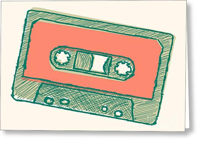 Audio Tape Sketch Greeting Card