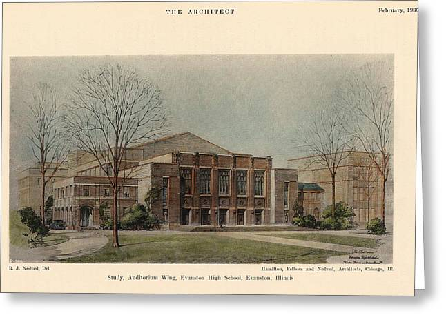 Auditorium Of Evanston High School. Evanston Illinois 1930 Greeting Card by Hamilton and Fellows and Nedved