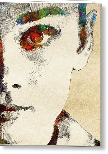 Audrey Half Face Portrait Greeting Card by Mihaela Pater