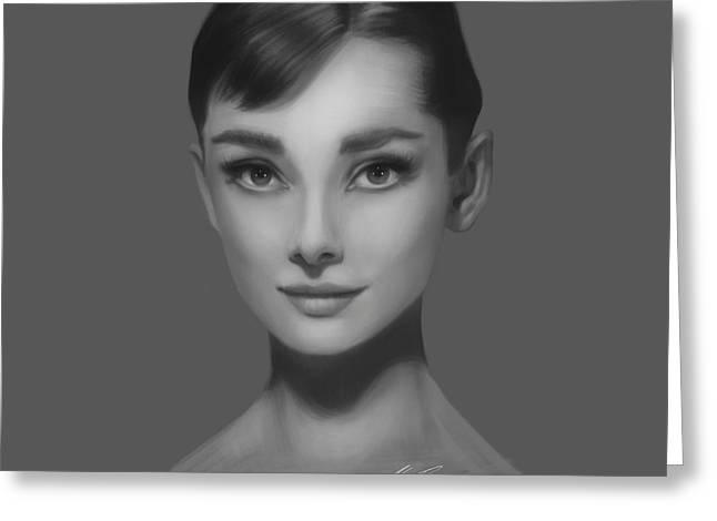 Audrey Hepburn Greeting Card by Alex Ruiz