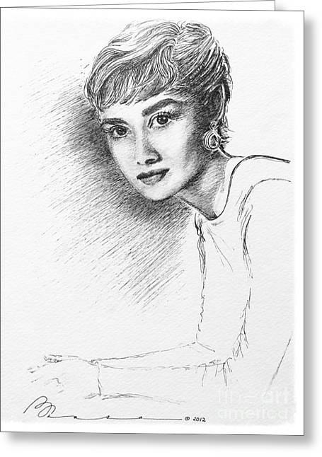 Audrey Hepburn  Greeting Card by Barbara Chase