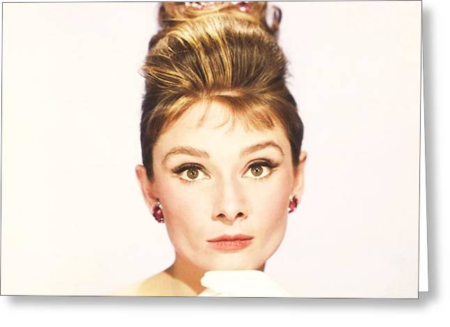 Greeting Card featuring the photograph Audrey Hepburn Breakfast At Tiffanys  by R Muirhead Art