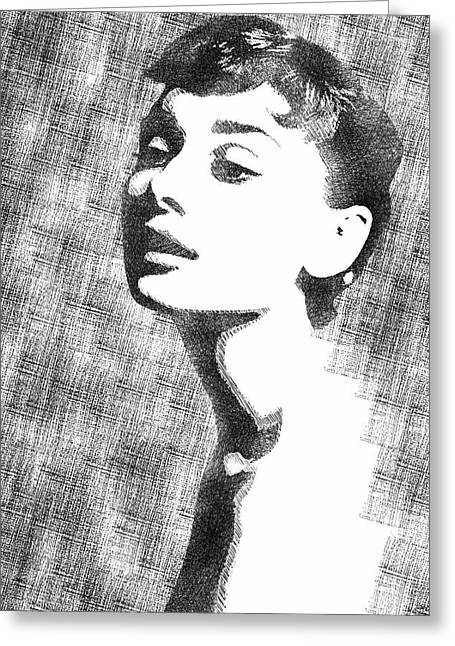 Audrey Hepburn Bw Portrait Greeting Card by Mihaela Pater