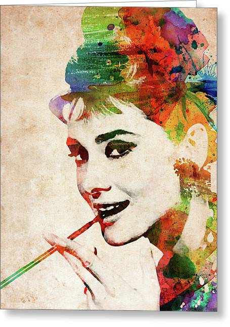 Audrey Hepburn Colorful Portrait Greeting Card