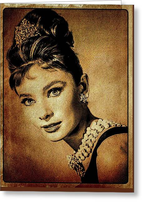 Audrey Hepburn Hollywood Actress Greeting Card by Esoterica Art Agency