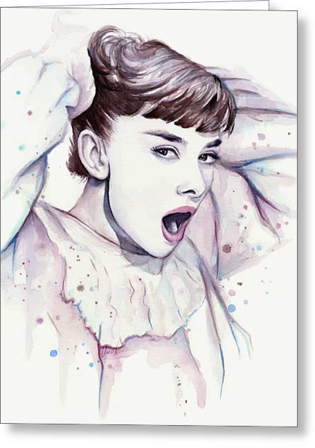 Audrey - Purple Scream Greeting Card