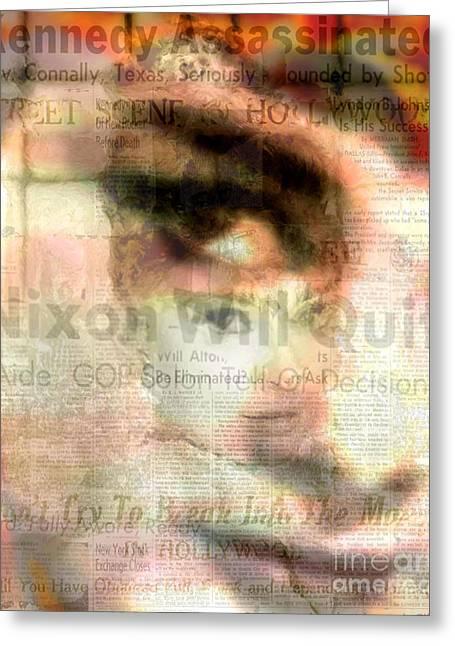 Audrey Scape - Audrey Hepburn Pop Art Canvas Greeting Card by Leah Devora