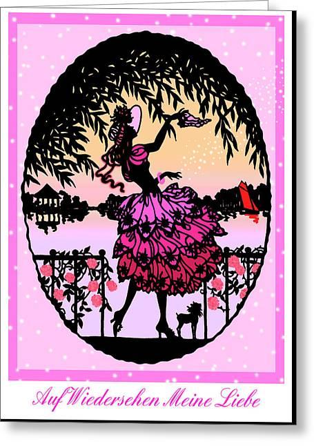 Auf Wiedersehen Meine Liebe - Vintage Illustration Greeting Card by Rayanda Arts