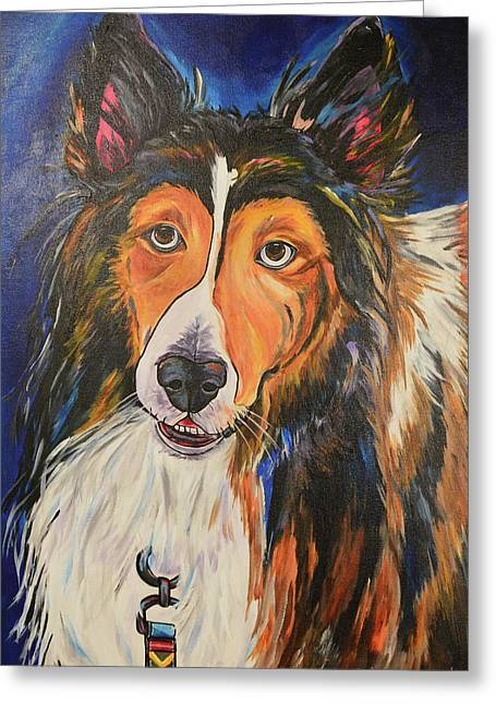 Greeting Card featuring the painting Augie by Patti Schermerhorn