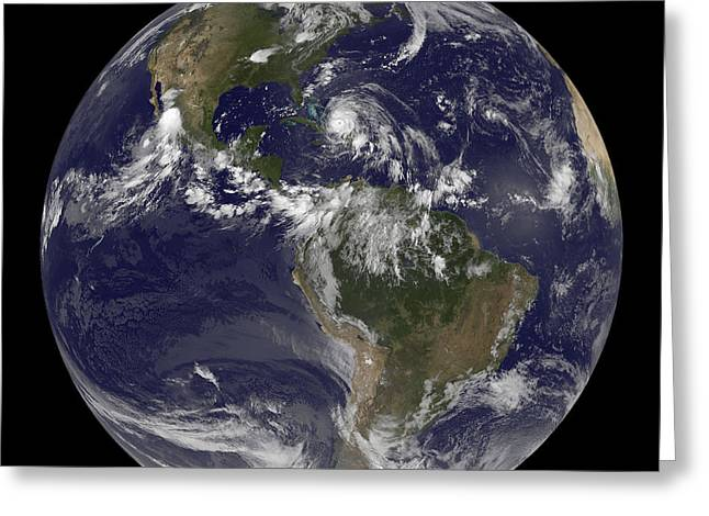 August 24, 2011 - Satellite View Greeting Card by Stocktrek Images