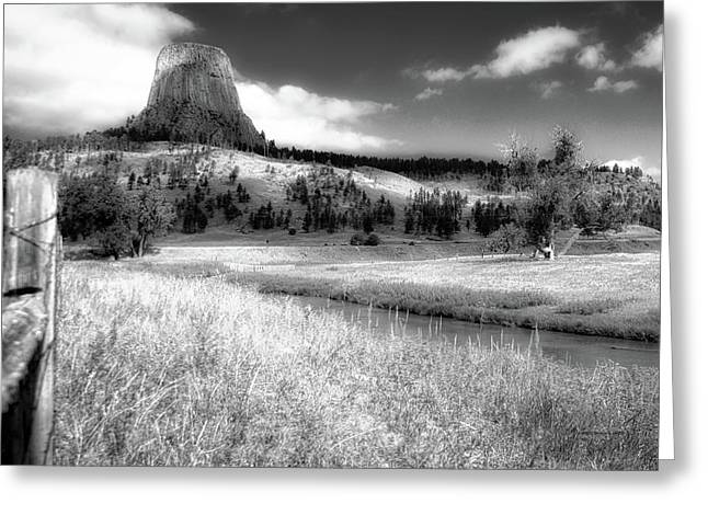 August At Wyoming Devils Tower 01 Bw Greeting Card by Thomas Woolworth