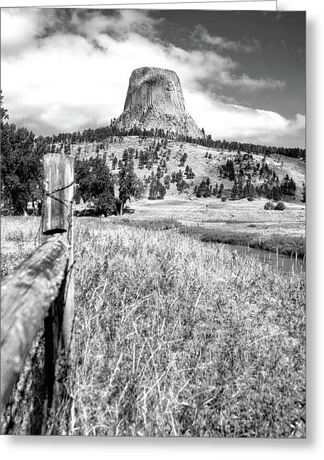August At Wyoming Devils Tower 02 Vertical Bw Greeting Card by Thomas Woolworth