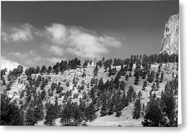 August At Wyoming Devils Tower Panorama 01 Bw Greeting Card by Thomas Woolworth