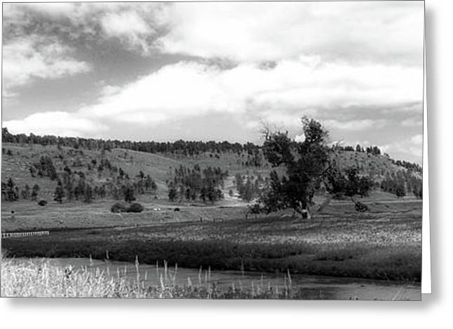 August At Wyoming Devils Tower Panorama 02 Bw Greeting Card by Thomas Woolworth