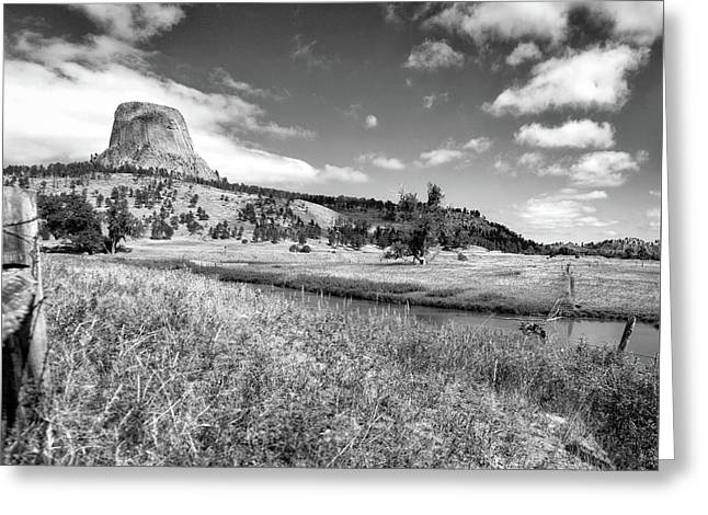 August At Wyoming Devils Tower Panorama 03 Bw Greeting Card by Thomas Woolworth