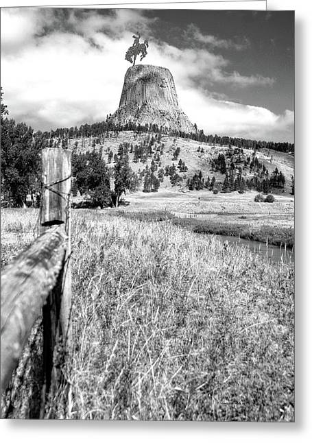 August At Wyoming Devils Tower With Cowboy 02 Vertical Bw Greeting Card by Thomas Woolworth