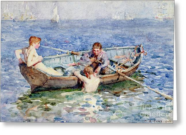 Dinghy Greeting Cards - August Blue Greeting Card by Henry Scott Tuke