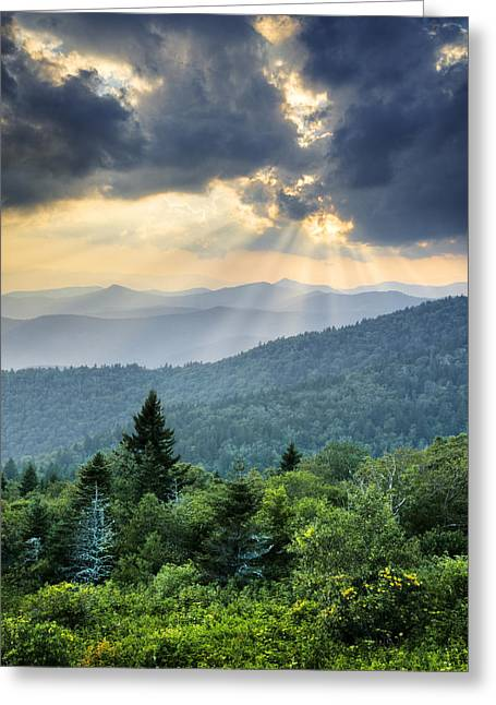 August Rays - Blue Ridge Parkway Sun Beams Greeting Card by Dave Allen