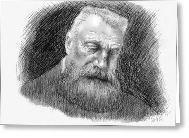 Greeting Card featuring the digital art Auguste Rodin by Antonio Romero
