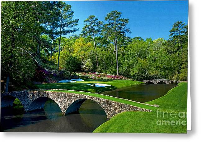Augusta National #12 - Golden Bell Greeting Card by Michael Graham