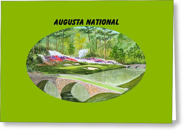 Augusta National Golf Course With Banner Greeting Card by Bill Holkham