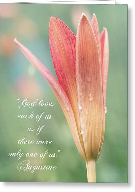 Augustine Quote God Loves Each Of Us With Opening Lily Greeting Card