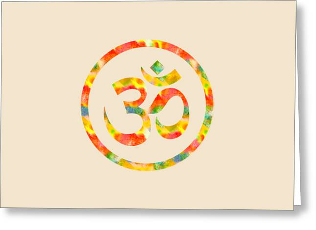 Greeting Card featuring the painting Aum Symbol Abstract Digital Painting by Georgeta Blanaru