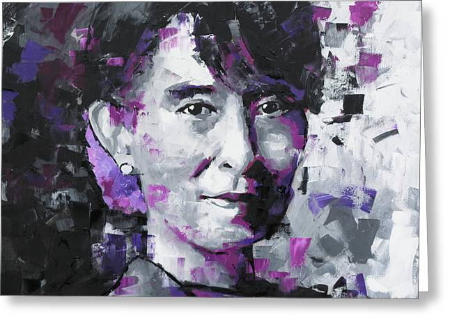 Greeting Card featuring the painting Aung San Suu Kyi by Richard Day