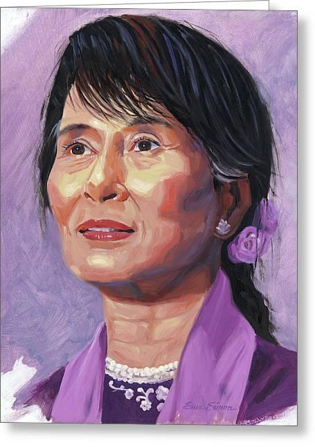 Aung San Suu Kyi Greeting Card by Steve Simon