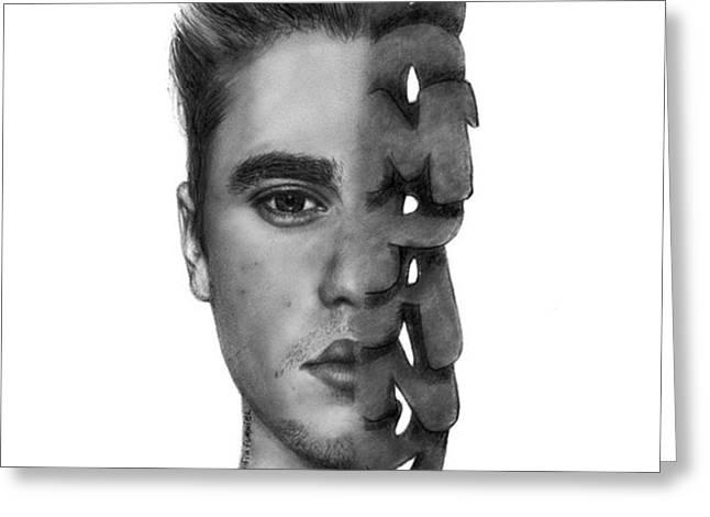 Justin Bieber Drawing By Sofia Furniel Greeting Card