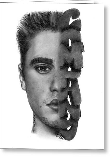 Justin Bieber Drawing By Sofia Furniel Greeting Card