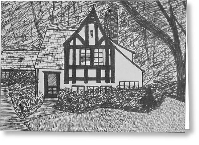 Greeting Card featuring the drawing Aunt Vizy's House by Lenore Senior