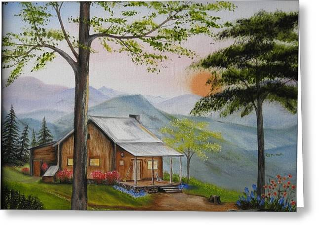 Auntie's Cabin Greeting Card by RJ McNall