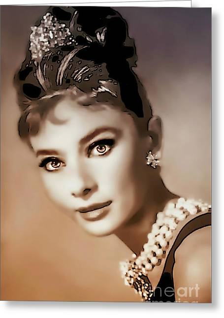 Aurdrey Hepburn - Famous Actress Greeting Card by Ian Gledhill