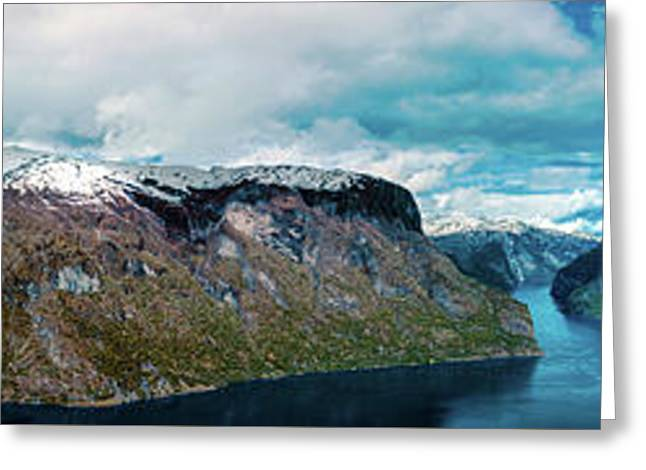 Aurlandsfjorden Panorama Revisited Greeting Card